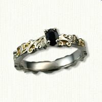 #36:Sculpted Ivy Wedding Band set with a .32ct Oval Blue Sapphire