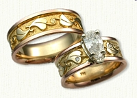 #39:14kt Rose and Yellow Custom Engagement/Wedding Set with Leaves and Scroll Work - with Customers Pear Shaped Diamond