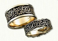 #43:14kt Two Tone Gold Custom Vine Pattern Wedding Band Set