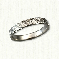#44:14kt White Gold Custom Leaf Band with Initials VP