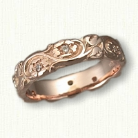 #70:14kt Rose Gold Floral Wedding Band with Inset Diamonds