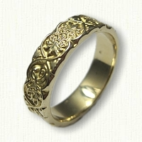 #49:14kt Yellow Gold Ornamental Leaf Wedding Band Sculpted Edges with one MH Monogram