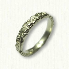 #50:14kt Green Gold Sculpted Ivy Wedding Band - 3.0 mm width