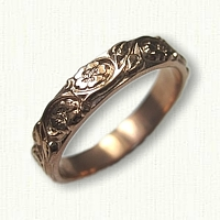 #72:14kt Rose Gold Custom Floral Band - straight edges