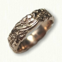 #73:14kt Rose Gold Custom Lily of the Valley Floral Wedding Band