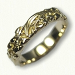 #78:14kt Yellow Gold Floral Lily of the Valley Wedding Band - sculpted