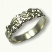 #79:14kt Green Gold Lily of the Valley Floral Wedding Band -sculpted