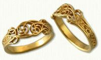 #01: 14Kt yellow pierced & tapered floral vine band