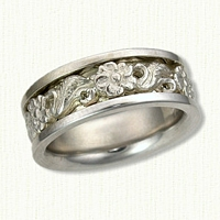 #56: 14kt White Gold Custom Floral Wedding Band with Sleeve