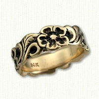 #55: 14kt Yellow Gold Sculpted Floral Band with Black Antiquing