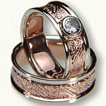 #68:14kt Rose & White Gold Custom Palmette Wedding Band Set