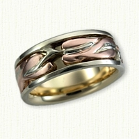 #57: 14kt Tri Color Gold Custom Leaf Band with Sleeve