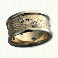 #58:14kt Hand Engraved Floral Band with Diamonds
