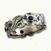 #59:14kt White Gold Sculpted Floral Band with Sapphires