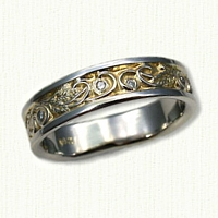 #60:Custom Wedding Band with Palm Leaves and Diamonds