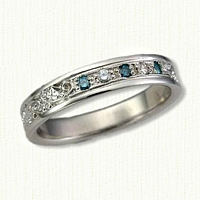 #61:Custom Ivy Wedding Band with Colored Diamonds
