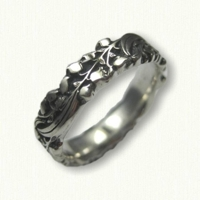 #77:Sterling Silver Lily of the Valley Wedding Band - sculpted edges-antiqued finish