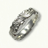 #76:Sterling Silver Lily of the Valley Wedding Band - sculpted edges