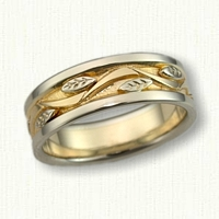 #66:14kt Two Tone Vine & Leaf Wedding Band-7mm
