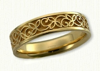 #53: 18kt Yellow Gold Tri Leaf Wedding Band