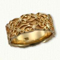 #62:14kt Yellow Gold Double Trileaf Wedding Band