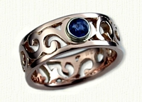 #65:14kt Rose Gold Pierced Walden Vine Wedding Band with Bezel Set Blue Sapphire