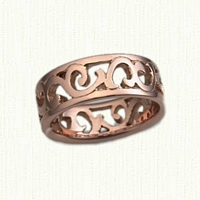 #63:14kt Rose Gold Pierced Walden Vine Wedding Band