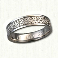 14kt White Gold Intricate Florentine Knot Wedding Band