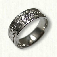 14kt White Gold Florentine Style Wedding Band- 7mm width