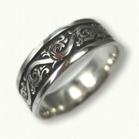 Sterling Silver Florentine Wedding Band with Black Antiquing