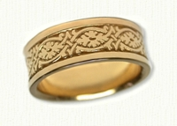 Florentine Style Wedding Bands in gold and platinum