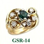 Emerald and Diamond Gemstone Rings