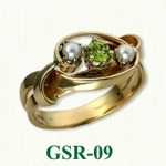 Peridot and Pearl Gemstone Rings