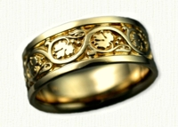 Sculpted Floral Wedding Band