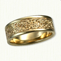 14kt Yellow Gold Custom initial Wedding Band Script EB
