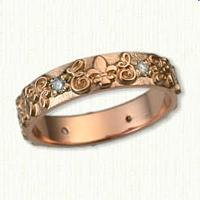 14kt Rose Gold Custom Initial and Fleur de Lis Wedding Band- straight edges