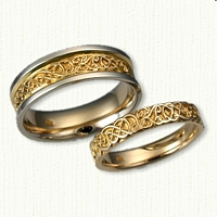 14kt Custom Knot And Initial Band ( KB ) Wedding Band Set
