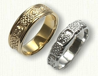 Custom Celtic Monogram Wedding Band Set
