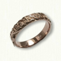 14kt Rose Gold Custom Monogram Wedding Band - no rails