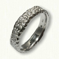14kt White Gold Custom Initial Band - Sculpted with Diamonds