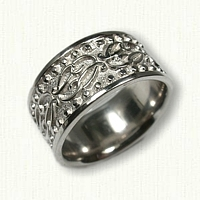14kt White Gold Custom Initial Wedding Band - 10.34 mm width