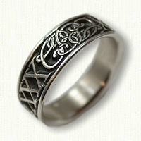 Custom Initial Continuum Silver Wedding Band with Black Antiquing In Recessed Areas