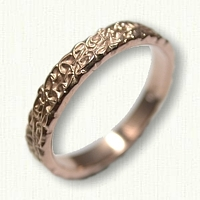 14kt Rose Gold Custom Monogram Wedding Band - straight edges