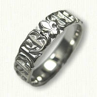 14kt White Gold Fleur de Lis with Initials Wedding Band