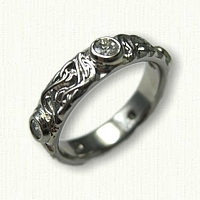 Custom Palladium Initial Wedding Ring set with customers five .10ct round diamonds