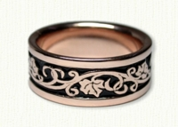 Ivy Designed Wedding Band in 14kt Rose Gold with Black Antiquing