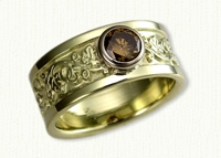 #18: Custom 14kt green gold Ivy Design Wedding Band with Bezel set round champagne diamond