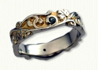 #17: Custom 14KW Sculpted Ivy Designed Wedding Band set with stones. 18kt yellow gold electroplating in recesses