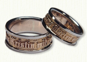 latin posey wedding rings in 14kt two tone gold regular etch - German Wedding Rings