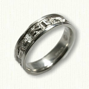 14kt White Gold Custom Hebrew Wedding Band